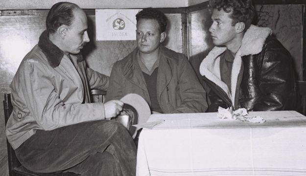 from left: Yigael Yadin, Yigal Allon and Yitzhak Rabin, Nov. 28, 1948