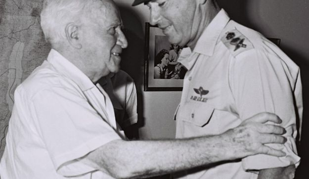 Rabin congratulates David Ben-Gurion on his 80th birthday, in Sde Boker, Oct. 2, 1966.