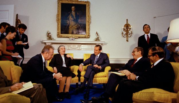 Yitzhak Rabin, Golda Meir, Richard Nixon, Henry Kissinger, Simcha Dinitz in White House, Mar. 1 1973