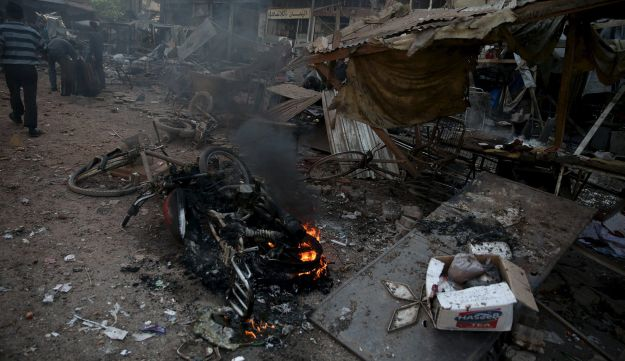 Marketplace bombed by Syrian regime in the Douma neighborhood of Damascus, Syria October 30, 2015.