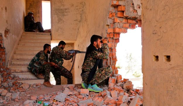 Kurdish People's Protection Units (YPG) fighters in Hasaka