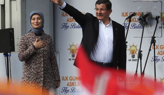 Turkish Prime Minister and Justice and Development (AK) party leader Ahmet Davutoglu during an elect