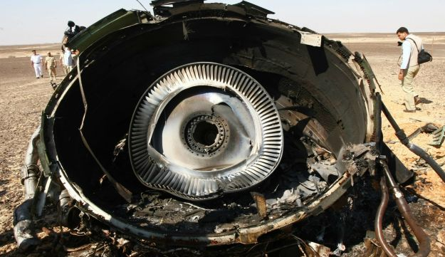 Part of the wreckage of the Airbus 321 Russian airliner in Egypt's Sinai Peninsula, November 1, 2015