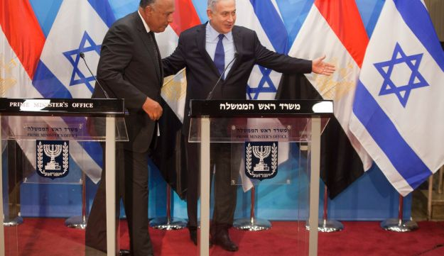Egyptian Foreign Minister Sameh Shoukry and Prime Minister Benjamin Netanyahu in Jerusalem, July 10, 2016.