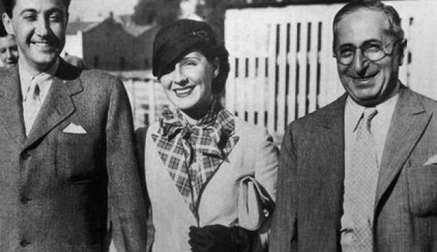 Photo of Thalberg (l) with wife, Norma Shearer, and Louis B. Mayer