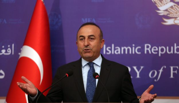 Turkish Foreign Minister Mevlut Cavusoglu, speaks during a joint press conference with his Afghan counterpart, Salahuddin Rabbani, at the Ministry of Foreign Affairs in Kabul, Afghanistan, Thursday, June 16, 2016.