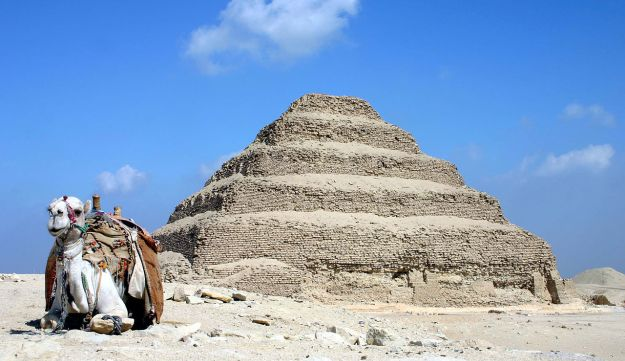 The stepped Djoser pyramid built, according to Egyptian records, by Imhotep, a high official under the Pharaoh Djoser. Some mistakenly confuse Imhotep with Joseph and think the Israelite father built the pyramids, a  theory that Egyptologists dismiss.