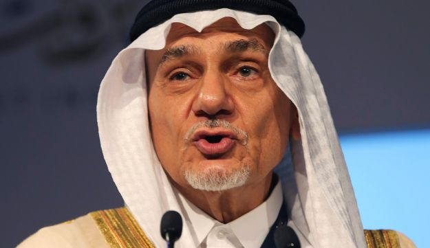 In this Saturday, Oct. 10, 2015 photo, Prince Turki al-Faisal talks to the audience during the opening day of the Beirut Institute Summit in Abu Dhabi, United Arab Emirates.