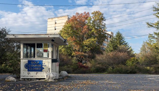 The gatehouse and main building of the abandoned Grossinger's Resort, Liberty, New York.
