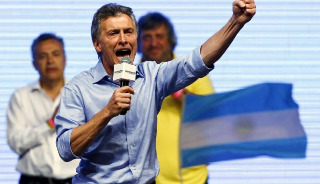 Mauricio Macri celebrates winning Argentina election at Cambiemos (Let's Change) party headquarters in Buenos Aires. November 22, 2015