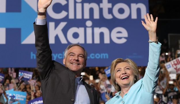 U.S. Democratic presidential candidate Hillary Clinton and vice presidential candidate U.S. Sen. Tim Kaine greet supporters during a campaign rally, Miami, Florida, July 23, 2016.