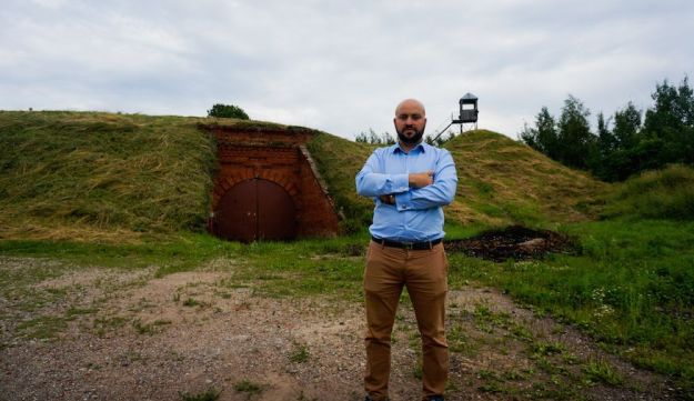 Jonny Daniels, founder of the Poland-based Holocaust commemoration group From the Depths, at the entrance to the Seventh Fort in Kaunas, Lithuania, July 12, 2016.