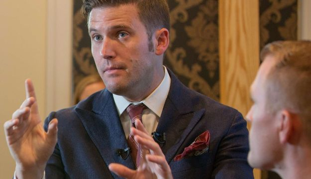White nationalist Richard Spencer of Identity Evropa on August 14, 2017 in Alexandria, Virginia.