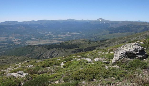The Lozoya valley, seen from El Nevero peak: Neanderthals lived here some 40,000 years ago and may have ritualistically buried a child, aged 2 to 3, giving rise to speculation that they mourned their dead and may have had faith in an afterlife.