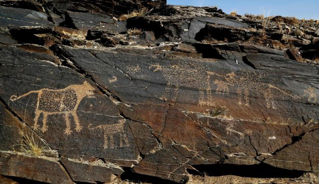 Ancient animals engravings seen in the hills outside Khomein in Iran on October 24, 2016.