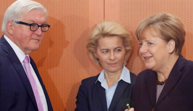 Germany's Foreign Minister Frank-Walter Steinmeier, Defence Minister Ursula von der Leyen and Chancellor Angela Merkel during the weekly cabinet meeting, December 1, 2015.