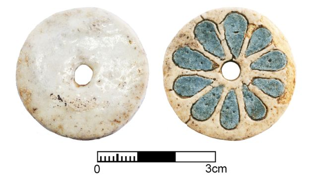 Egyptian faience button found in 3,500-Cypriot grave, in the city of Hala Sultan Tekke. The gold objects and the more than 100 richly ornamented ceramic vessels attest to Cyprus importance as a commercial hub, with far-reaching trade connections that included Sweden.