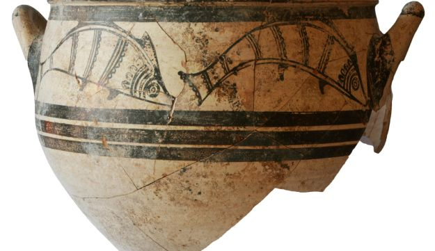 Fish Krater: Mycenaean (Greek) vessel with fish motifs, c. 1300 BCE, found in rich grave discovered in Halla Sultan Tekke, Cyprus.