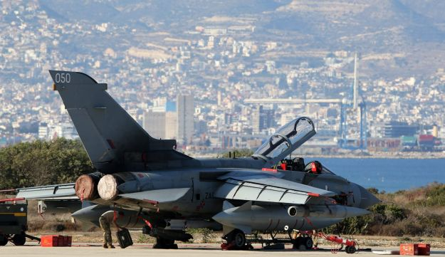 A file photo taken on October 1, 2014, shows a British Royal Air Force (RAF) Tornado fighter jet at the Akrotiri airbase, near the Cypriot port city of Limassol
