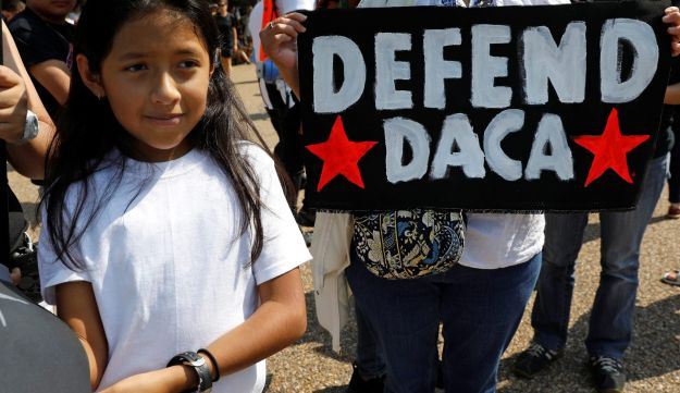 Demonstrators protest in front of the White House after the Trump administration scrapped the DACA program, Washington, September 5, 2017.