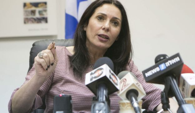 Culture and Sports Minister Miri Regev holding a press conference.