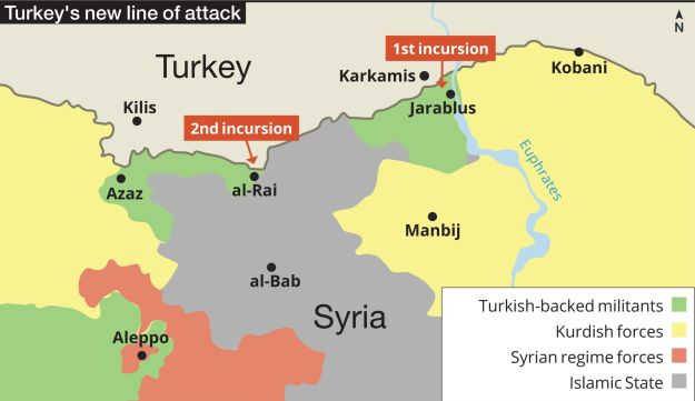 Map showing Turkey's second incursion into Syria in al-Rai.