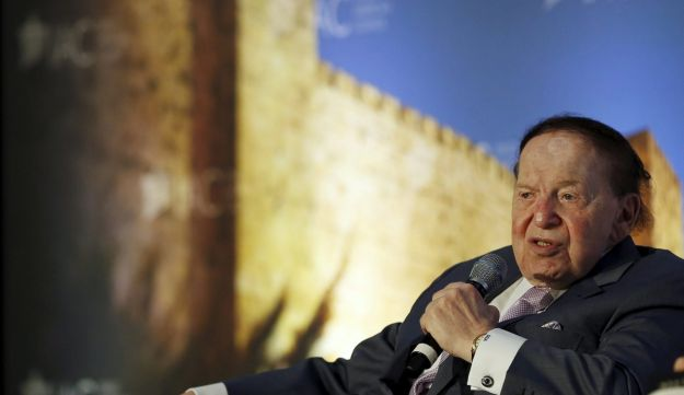Sheldon Adelson, owner of Israel Hayom and chairman and CEO of the Las Vegas Sands Corporation, speaks at the National Israeli-American Conference in Washington, U.S., October 19, 2015.