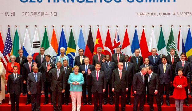 State leaders take part in a group photo session for the G20 Summit held at the Hangzhou International Expo Center in Hangzhou, China, September 4, 2016.