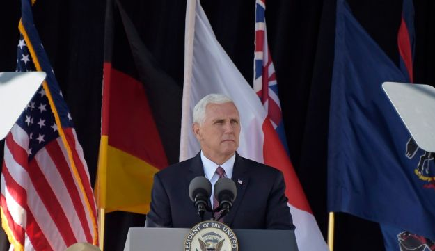 Vice President Mike Pence speaking during a service of remembrance tribute to the passengers and crew of United Flight 93 at the Flight 93 National Memorial in Shanksville, Pa., September 11, 2017.