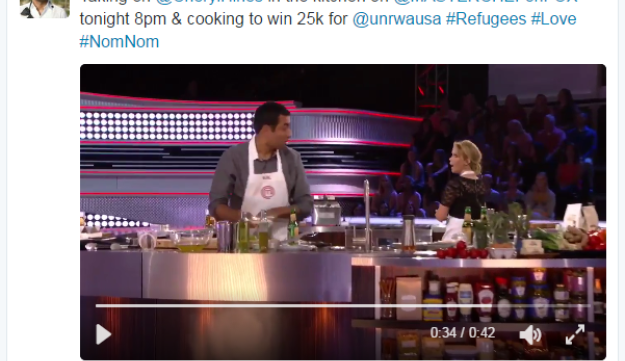 "Kal Penn's tweet: ""Taking on @CherylHines in the kitchen on @MASTERCHEFonFOX tonight 8pm & cooking to win 25k for @unrwausa #Refugees #Love #NonNom."""