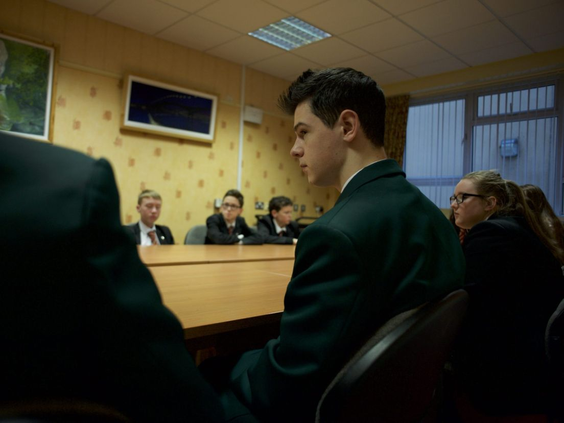Pupils of Limavady High School (in black) and St. Mary's Limavady (in  green) in Limavady, Northern Ireland. Paulo Nunes dos Santos