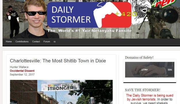 Main banner of neo-Nazi website Daily Stormer praising Yair Netanyahu, the son of Israel's prime minister, September 12, 2017  Headline (1.72) Regular (1.3) Square Teasers (1) Wide Images (Belgrade) Landscape (2.31) Vertical images format (0.85) Full Image