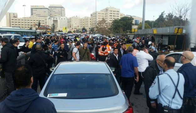 Scene of Jerusalem car-ramming attack that left 11 wounded, including a baby, near the Chords Bridge. December 14, 2015.