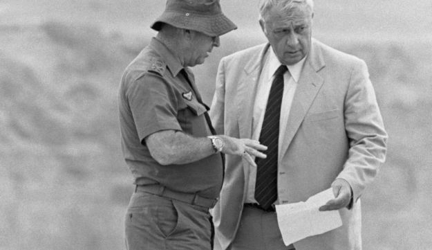 Defense Minister Ariel Sharon and IDF Chief of Staff Rafael Eytan in Lebanon in 1982.