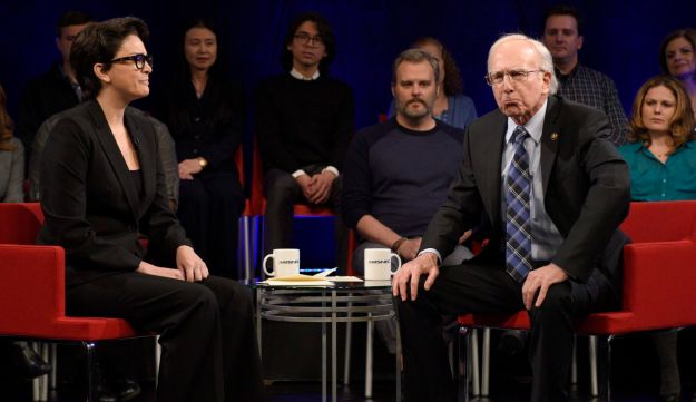 """Larry David as Bernie Sanders during the """"MSNBC Forum Cold Open"""" sketch on November 7, 2015."""