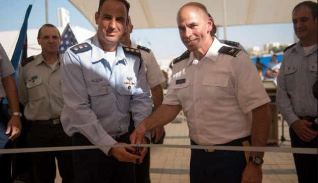Brig. Gen. Zvi Haimovich during a ceremony dedicating the first American base in Israel, September 18, 2017.