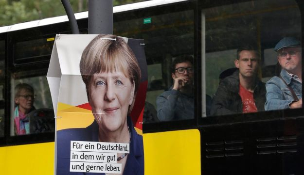 Alternative for Germany and Christian Democrat posters on a streetlamp, Berlin, September 7, 2017.