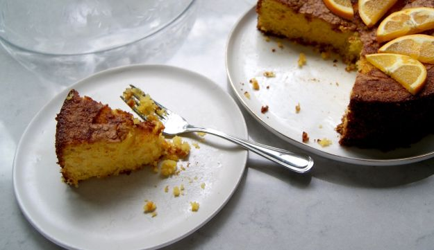 Orange, polenta and marzipan cake.