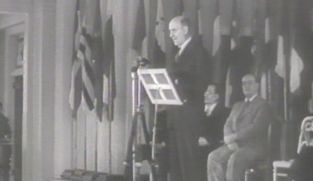 Morgenthau addressing delegates on the opening day of the Bretton Woods Conference, at Bretton Woods, New Hampshire, United States, 1944.
