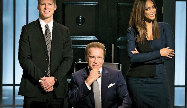 """Arnold Schwarzenegger (center), his nephew Patrick Knapp Schwarzenegger and Tyra Banks in """"The New Celebrity Apprentice,"""" just launched on NBC in the U.S."""