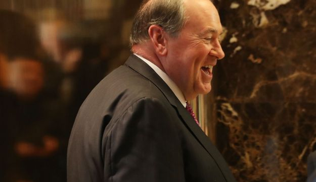 Mike Huckabee arrives at Trump Tower on November 18, 2016 in New York City.