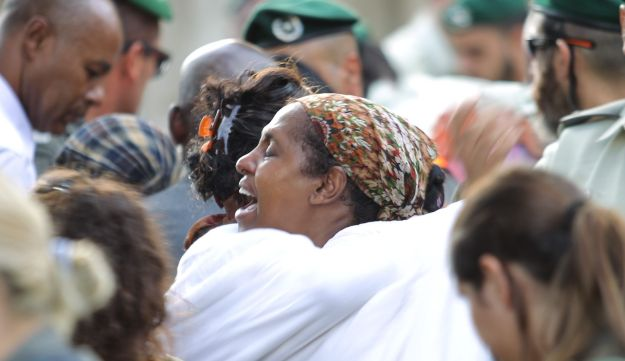 Mourners at the funeral of First Sgt. Solomon Gabariya, killed in the terror attack in the West Bank settlement of Har Adar, September 26, 2017.
