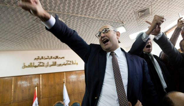 Egyptian lawyer Khaled Ali celebrates after the Supreme Administrative Court ruled that two islands, Sanafir and Tiran, are Egyptian, January 16, 2017.