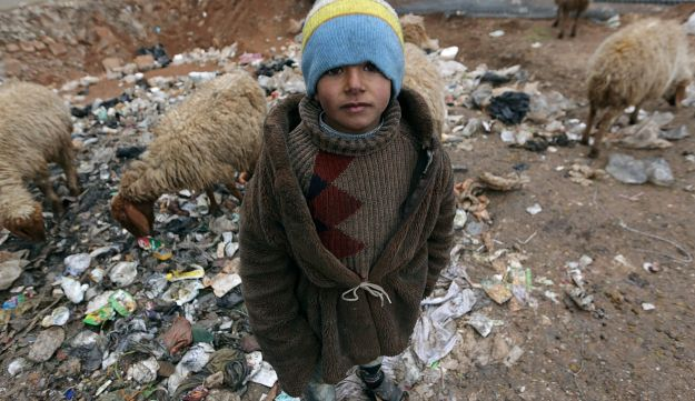 A displaced boy, from eastern Aleppo, in the northern Syrian rebel-held town of al-Rai, Syria, January 5, 2017.
