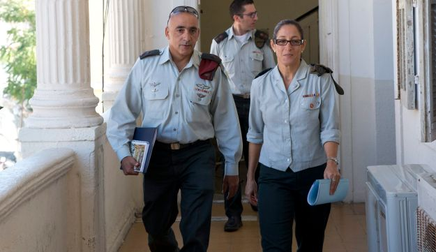 Presiding Judge Col. Maya Heller, right, with her fellow judges in the manslaughter trial of Sgt. Elor Azaria, July 2016.