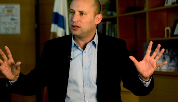 In this Monday, Feb. 16, 2015 file photo, Naftali Bennett speaks during an interview with the Associated Press in Jerusalem.