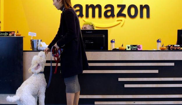An Amazon employee feeds her dog a biscuit inside the Seattle company building on October 11, 2017.