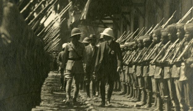 Honor guard for the first High Commissioner Herbert Samuel, inaugurating the Lydda - Jaffa railway line, October 5, 1920