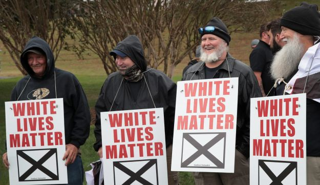 White nationalists attend a rally on October 28, 2017 in Shelbyville, Tennessee.
