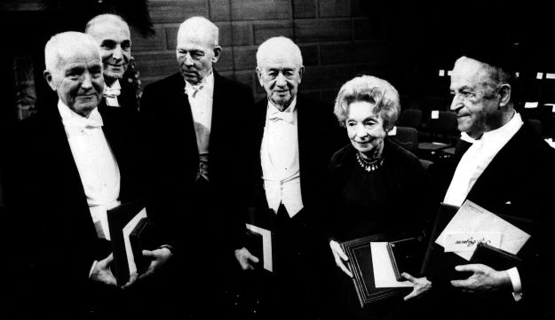 The Nobel Prize winners together after the awards ceremony in Stockholm, December 10, 1966. From left: Prof. Charles B. Huggins, medicine; Prof. Alfred Kastler, physics; Robert S. Mulligan, chemistry; Peyton Rous, medicine; Nelly Sachs and Shmuel Yosef Agnon, literature.